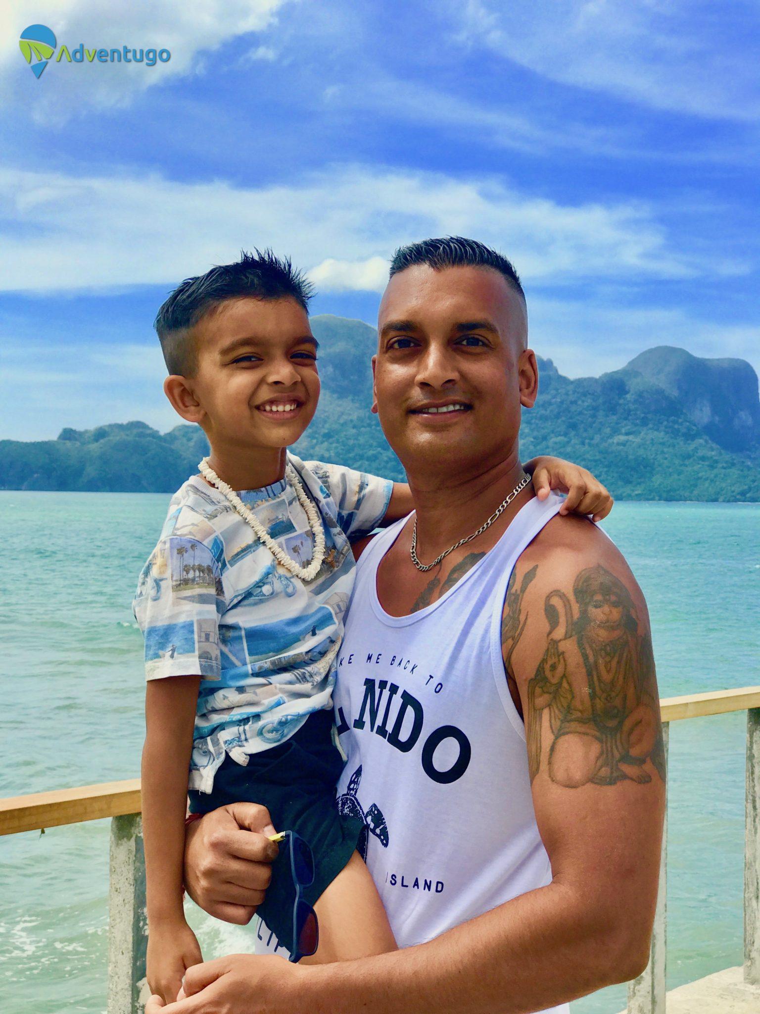 Lio Beach Pier with My son! El Nido Travel Guides