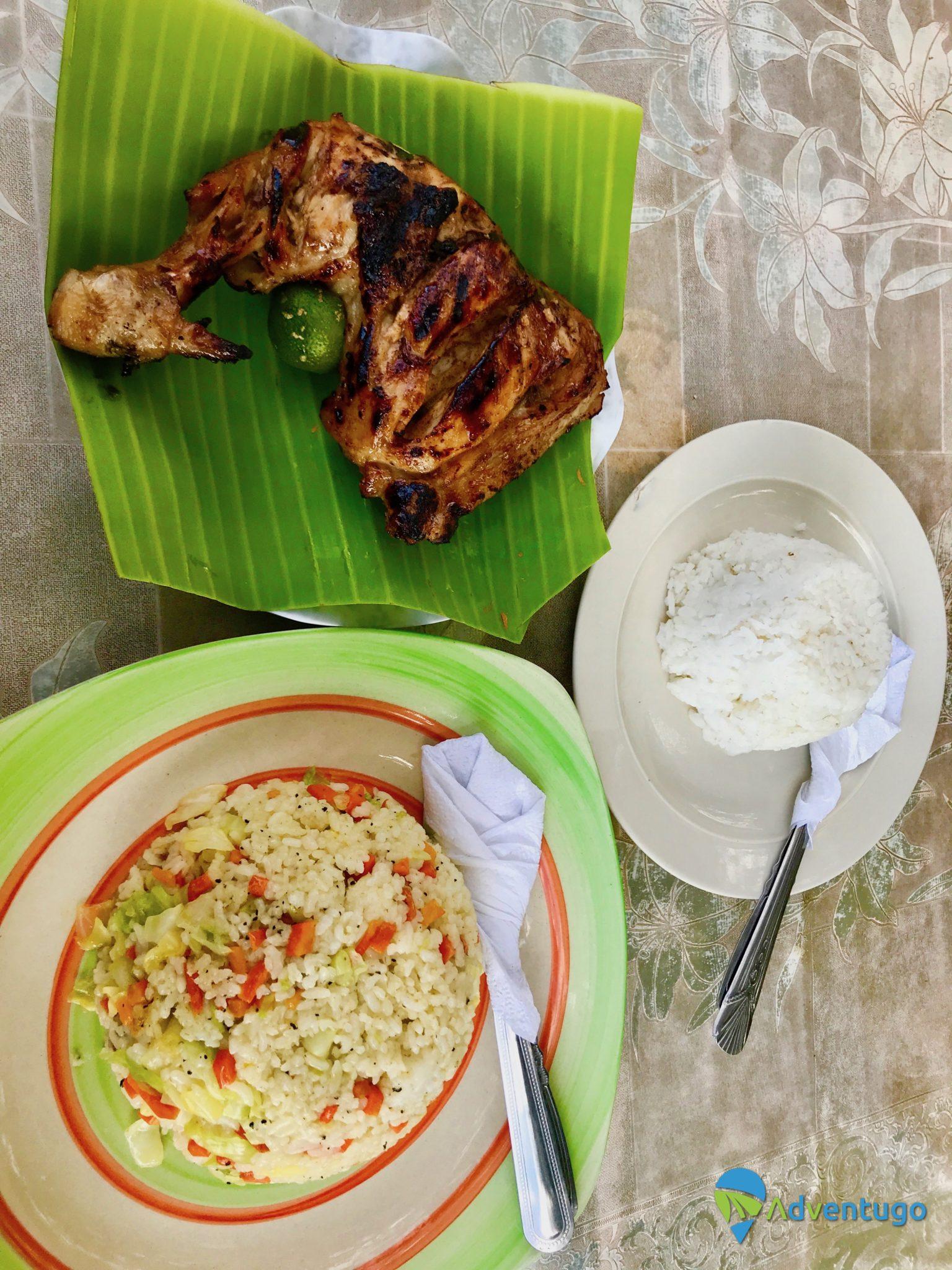 BBq Chicken and Garlic rice Filippino style in El Nido, Philippines food