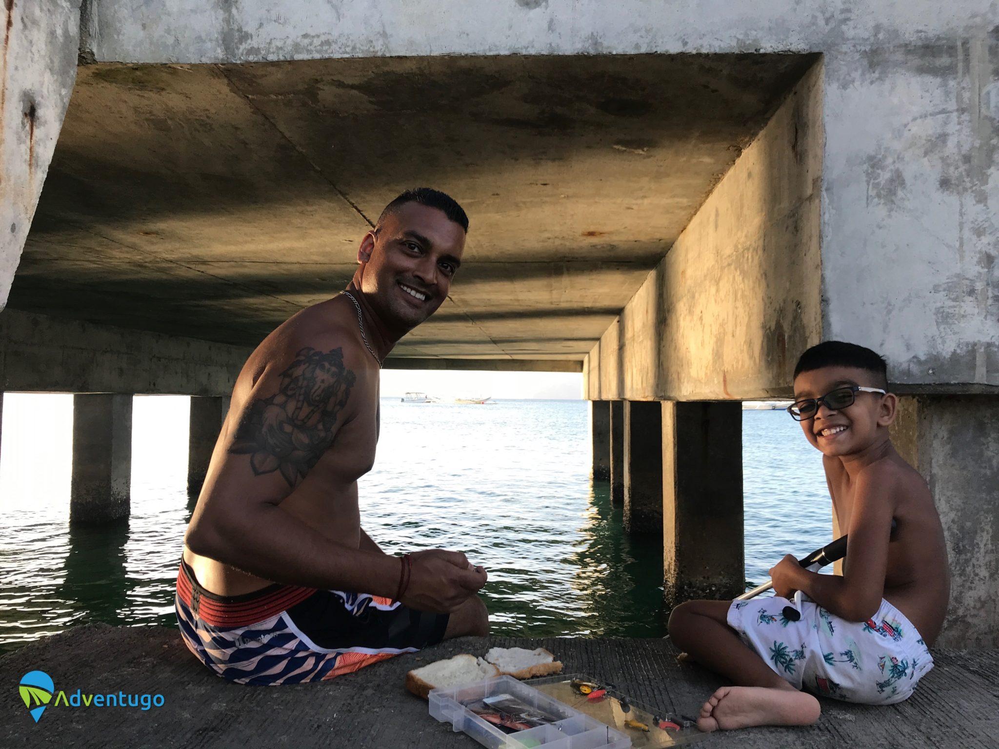 Fishing Off the Pier At Lio Beach El Nido, Palawan