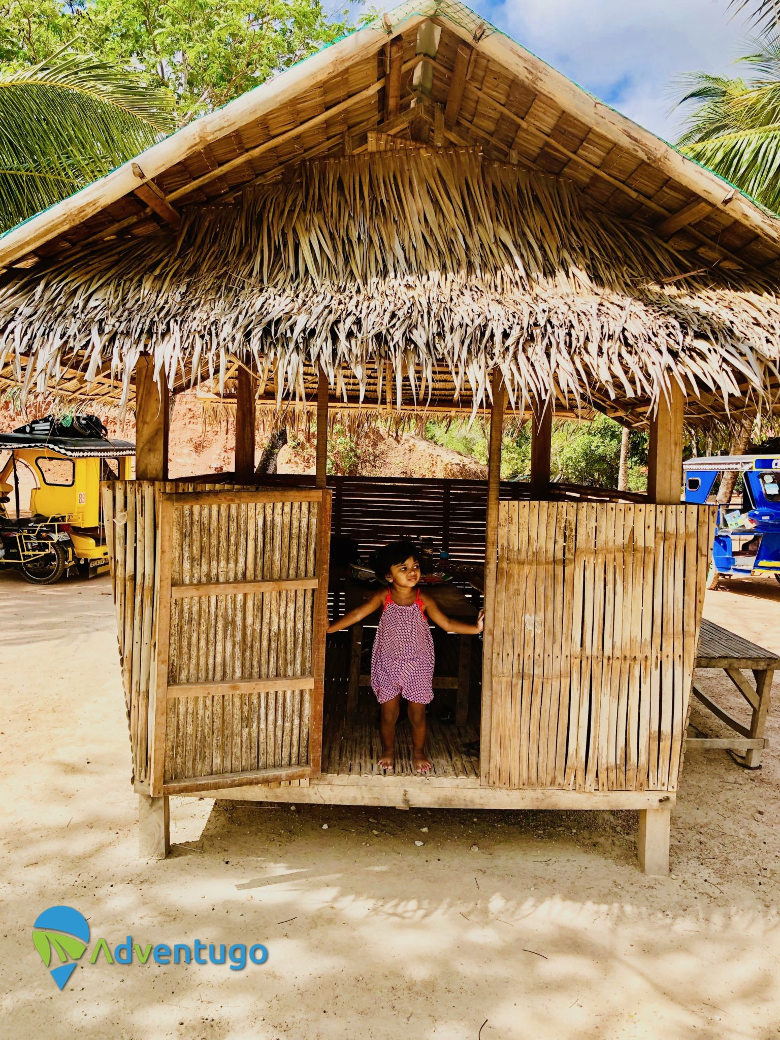 Posing in our beach hut at Cabo Beach, Coron. Philippines travel guides